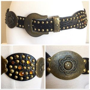 Studded brass faux leather rhinestone hip belt